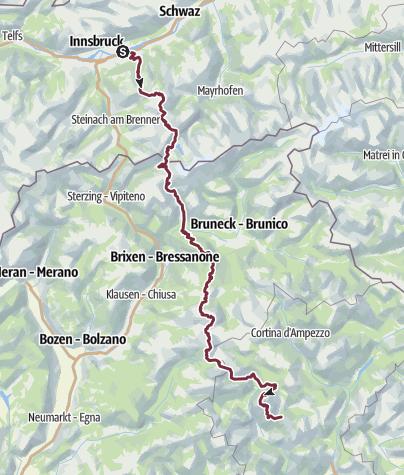 Karte / München - Venedig: Teilstrecke von Hall in Tirol nach Belluno