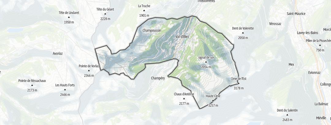 Térkép / Túrázás,  Val-d'Illiez területén