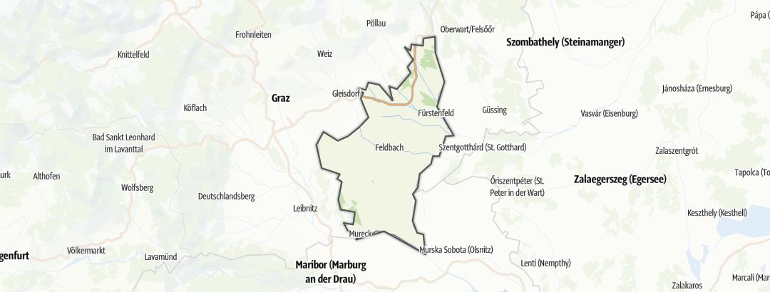 Kartta / Vaellusreitit kohteessa Steirisches Thermenland