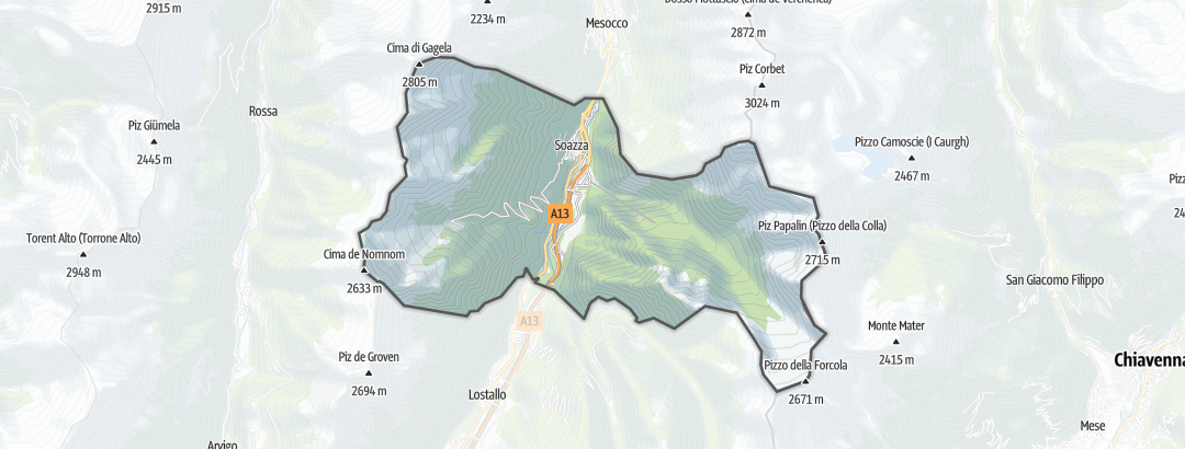 Térkép / Gyalogtúrák,  Soazza területén