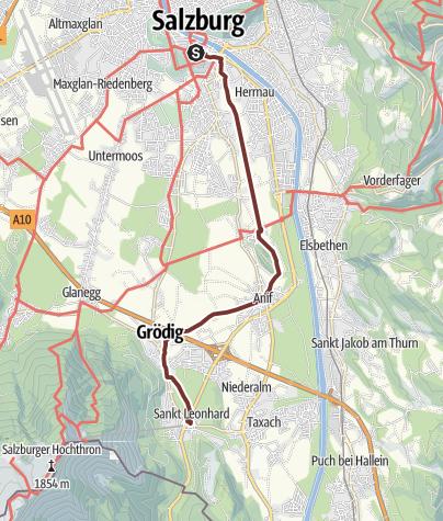 Map /  Leonhardsweg Etappe 01: Salzburg - Grödig (St. Leonhard)
