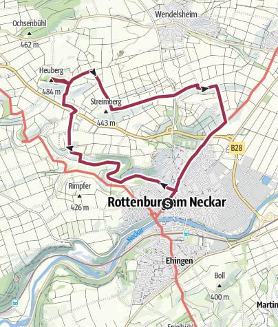 Karte / Rottenburg - Wallfahrtskirche Weggental - Heuberger Warte - Rottenburg