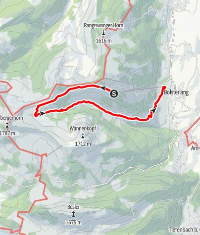 Karte / Hüttentour im Hörnerbahngebiet Bolsterlang