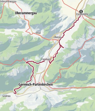 Karte / Streckentour Eschenlohe - Farchant - Untergrainau