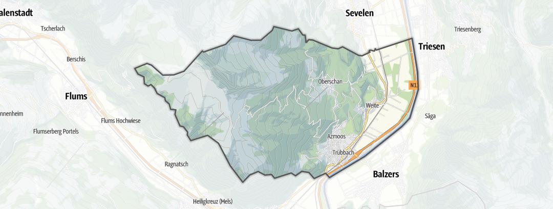 Kart / Fotturer i Wartau