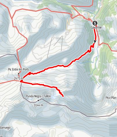 Karte / Pyrenäen-Rundtour, Etappe 2: Von Gavarnie zum Refuge de la Brèche de Roland