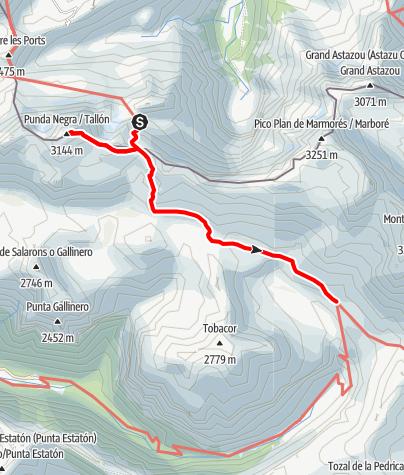 Karte / Pyrenäen-Rundtour, Etappe 3: Über die Brecha de Rolando und den Taillón (3.144 m) zum Refugio de Góriz