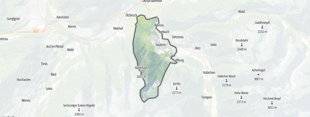 Térkép / Gyalogtúrák,  Sautens területén