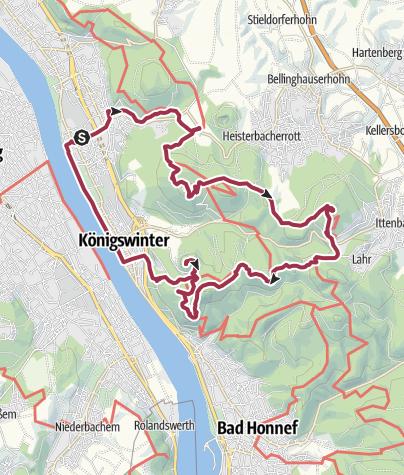 מפה / Königswinter, Drachenfels und Großer Ölberg