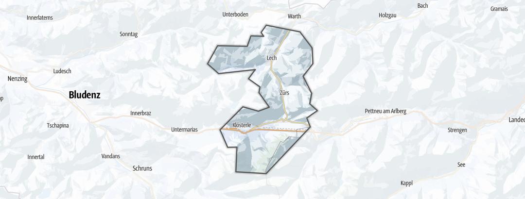 地图 / 在Arlberg里的冬季和雪