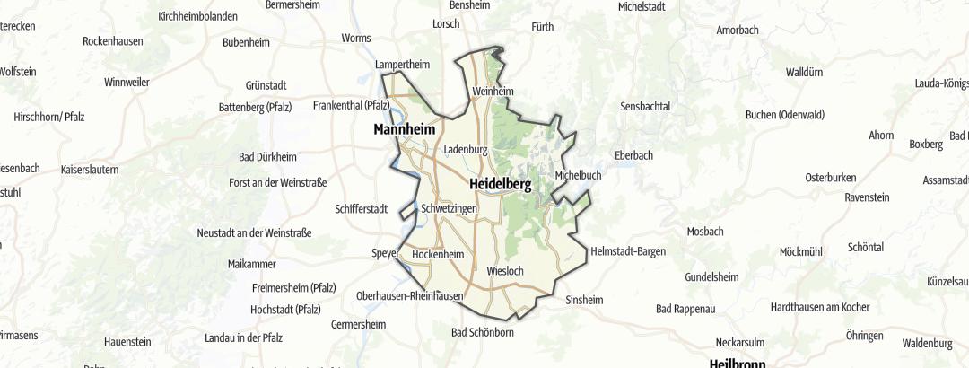 Mapa / Rutas en bici de carretera en Kurpfalz