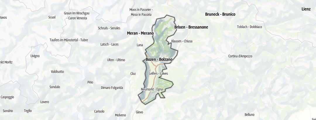 Mapa / Cesty pro alpské lezení v oblasti Südtirols Süden