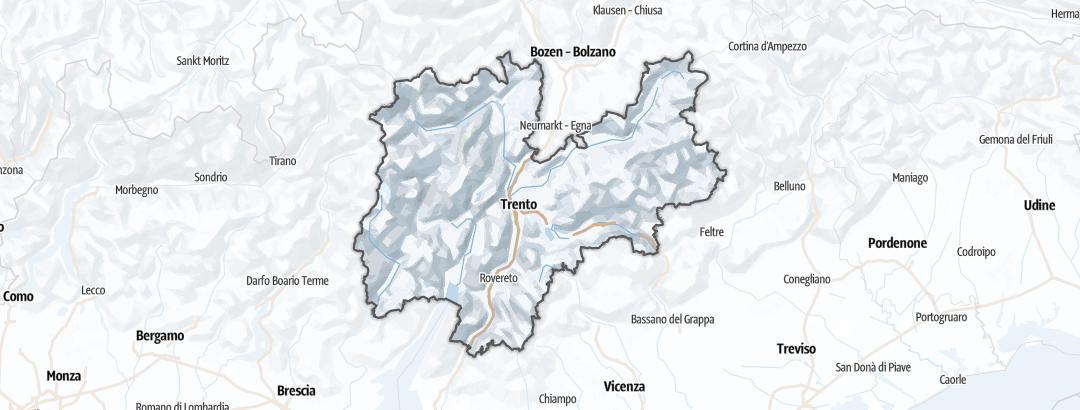 Kartta / Hiihtokeskukset kohteessa Trentino