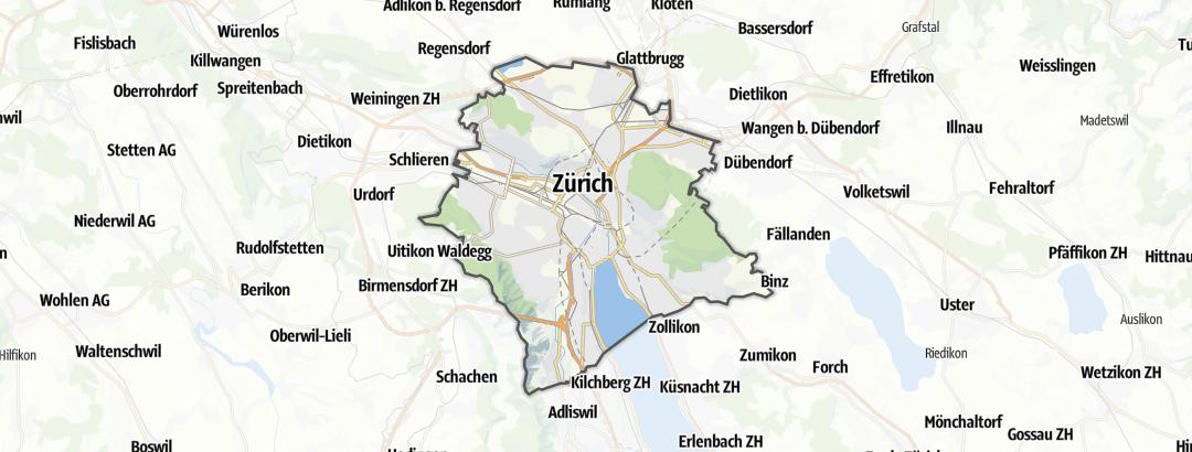 Kartta / Retkeilyreitit kohteessa Zurich
