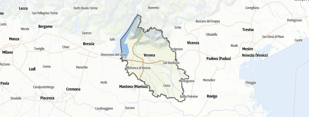 Kartta / Vuoristoreitit kohteessa Verona