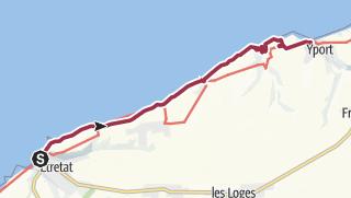 Karte / Streckenwanderung von Étretat nach Yport