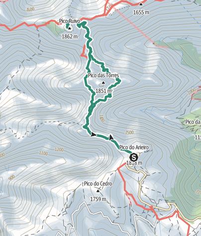Karte / Vom Pico Arieiro zum Pico Ruivo