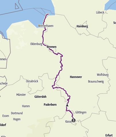 Weser Radweg Karte.Weser Radweg Fernradweg Outdooractive Com