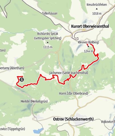 Karte / Stoneman Miriquidi Abschnitt Plesivec (Plessberg) Klinovec (Keilberg)