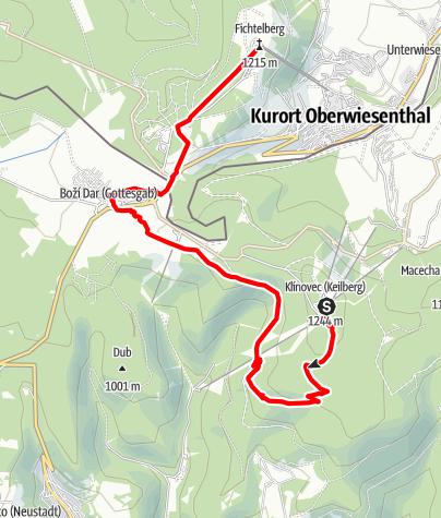 Karte / Stoneman Miriquidi Abschnitt Klinovec (Keilberg) Fichtelberg