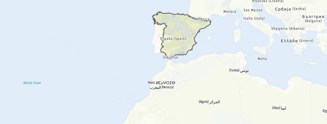 Hartă / Excursii pe distanțe lungi în Spania