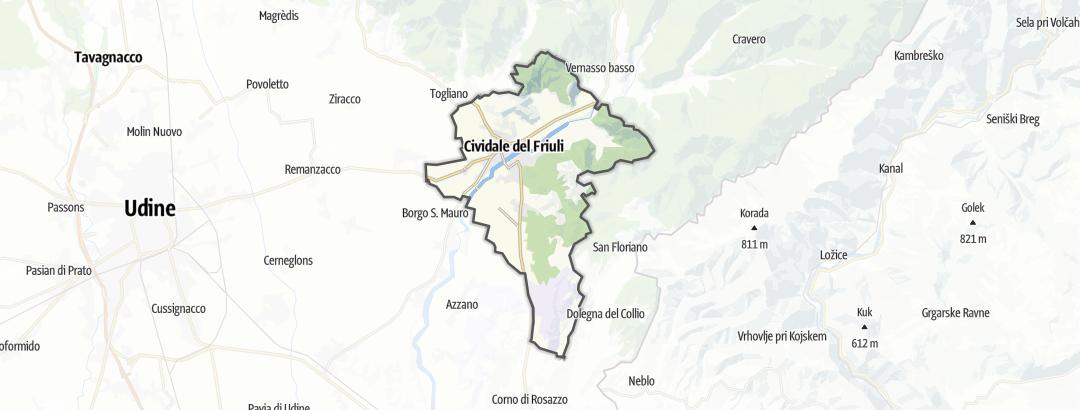Karte / Radfahren in Cividale del Friuli