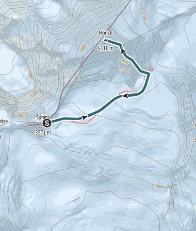 Karte / Mönch vom Jungfraujoch