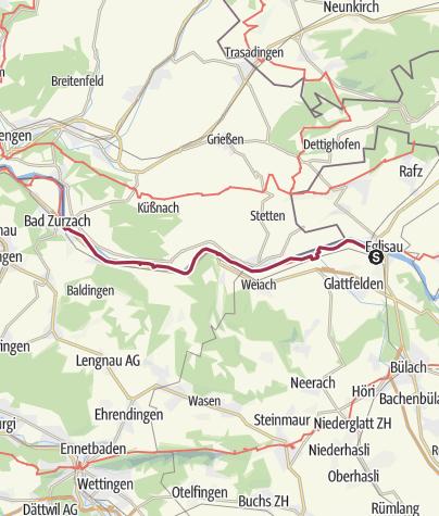 Karte / Rheinuferweg: Eglisau - Zurzach