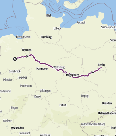 Karte / Clp - Berlin über Magdeburg
