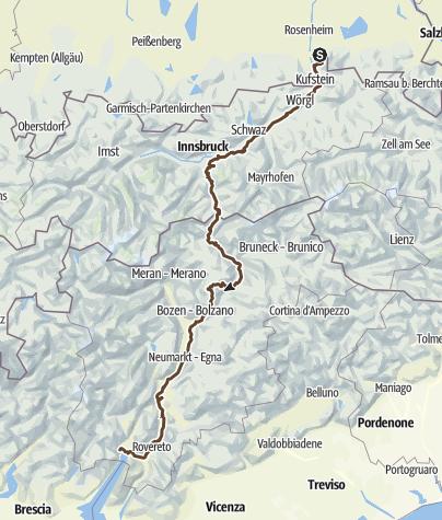 Karte / Alpencross von Samerberg zum Gardasee
