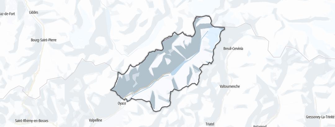 Map / Long distance ski tours in Bionaz