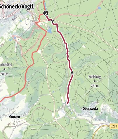 Karte / Barrierefreier Wanderweg von Schöneck bis ins Zwotental