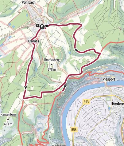 """Karte / Wanderung """"Eifel- und Moselblick am Moselsteig bei Klausen"""