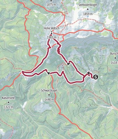 Karte / Rotsohlalm - Hohe Veitsch (1981 m) - Brunnalm