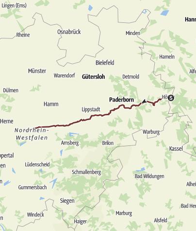 Karte / Jakobsweg von Höxter bis Dortmund