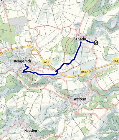 Karte / Wegbeschreibung vom Bahnhof Engeln ins Ortszentrum von Kempenich