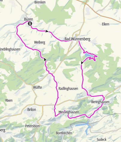 Karte / Radfüchse Büren Permanente Diemelseerunde 74km