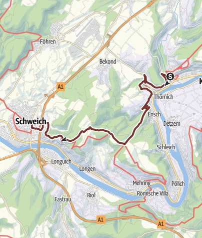 Karte / Mosel-Camino - 7.  von 8 Etappen (Klüsserath > Schweich; Mosel-Jakobsweg; Moselcamino)