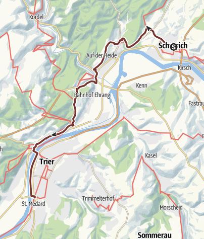 Karte / Mosel-Camino - 8. von 8 Etappen (Schweich > Trier St. Matthias; Mosel-Jakobsweg; Moselcamino)