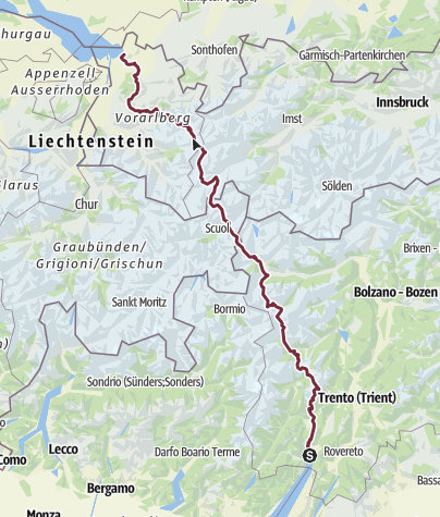 Karte / Alpenüberquerung - vom Gardasee zum Bodensee