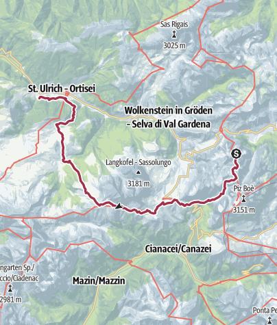 Karte / Pisciadùhütte - Sellajoch - Plattenkofelhütte