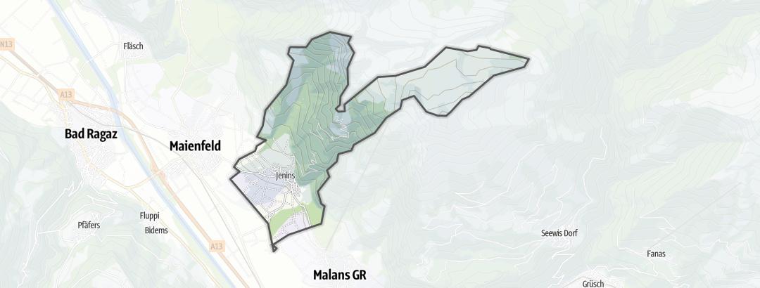 Hartă / Trasee de ciclism montan in Jenins