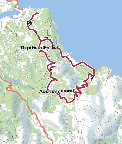 Karte / Wanderung zu den Höhlen von Loutzes, Korfu