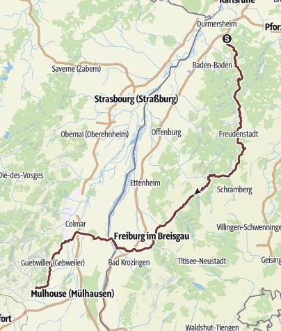 Karte / 1. Etappe Waldprechtsweier-Thann