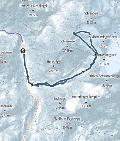 Karte / Skitour von der Amberger Hütte auf den Schrankarkogel (Skigipfel)