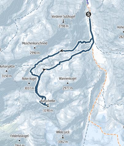 Karte / Skitour auf die Kuhscheibe (3188m)