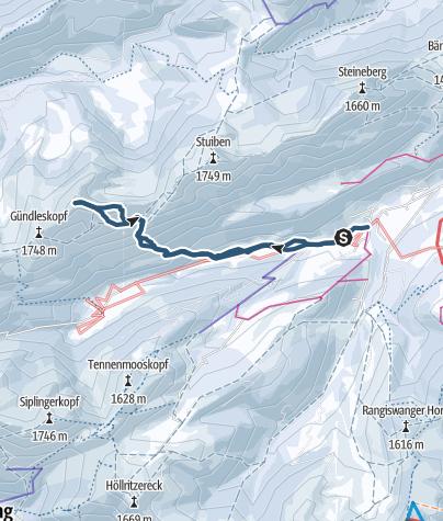 Karte / Skitour Buralpkopf von Gunzesrieder Säge