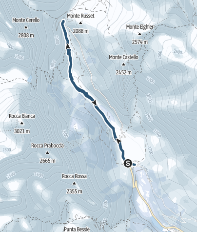 Karte / Grang Ciaviera 1940m unter Monte Russet 2086m