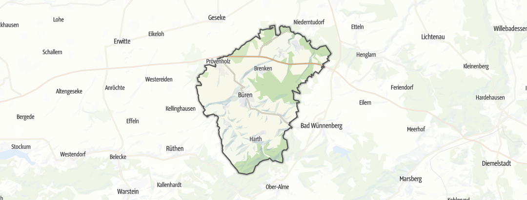 Mapa / Percursos de ciclismo de estrada em Büren