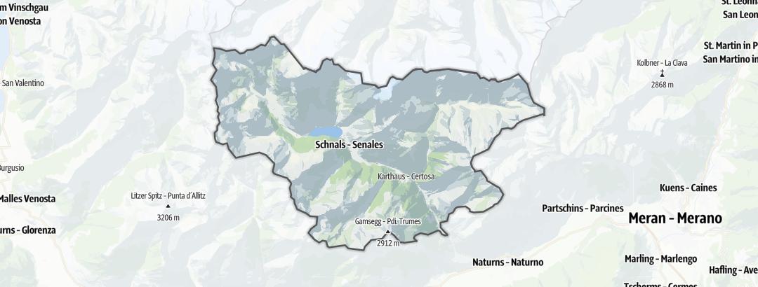 Mapa / Rutas de senderismo de montaña en Schnals